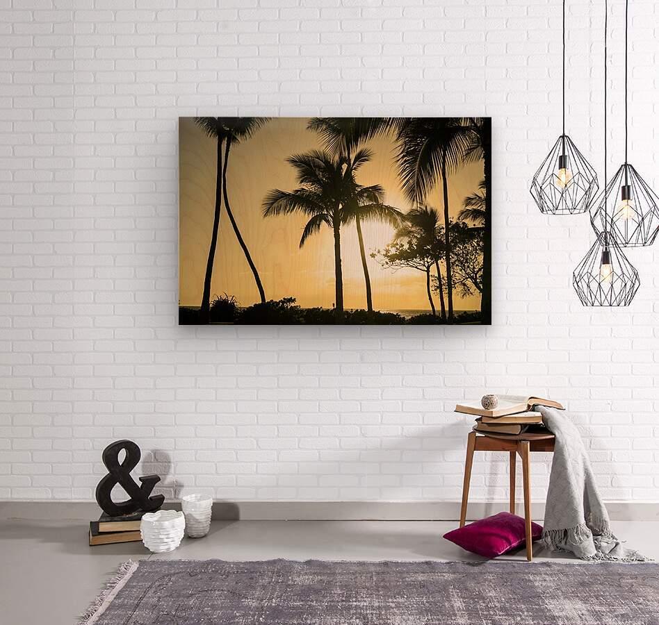 Through the Palms  Wood print