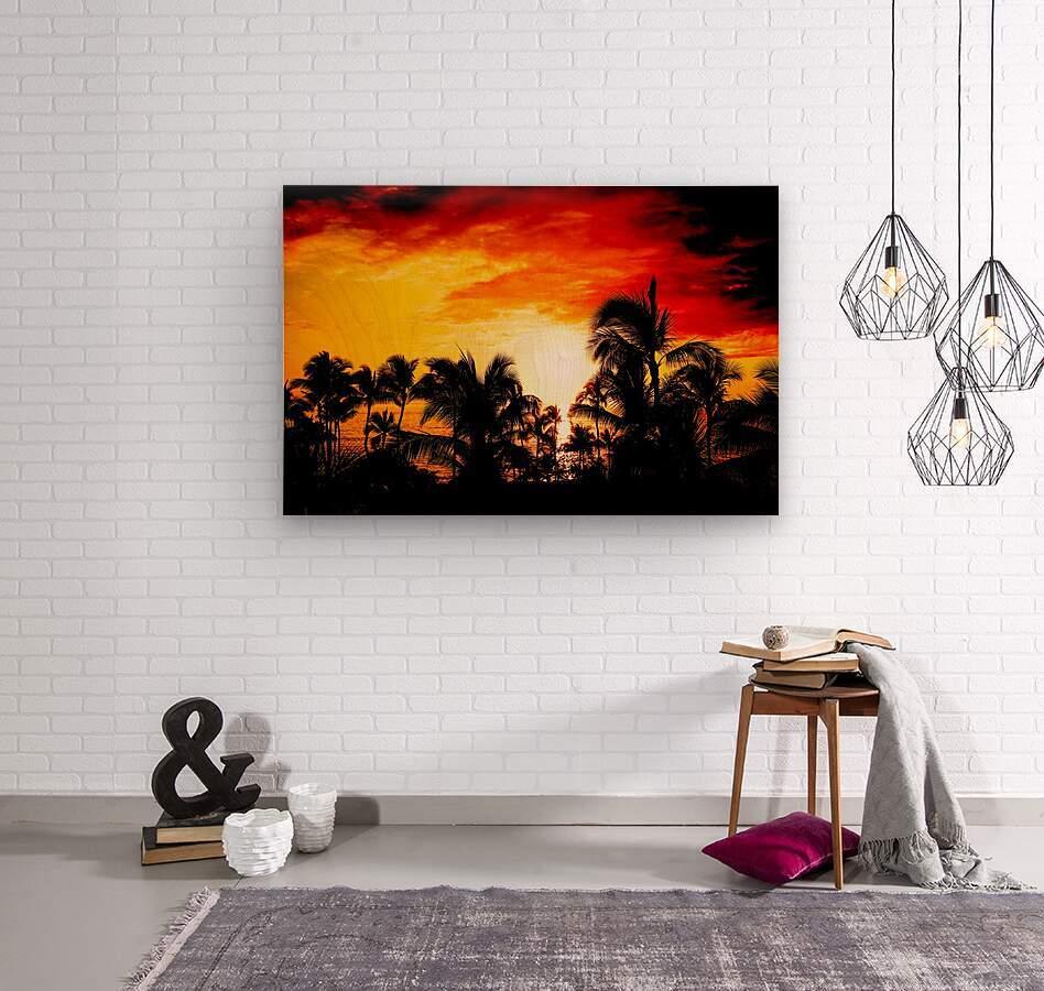 Fire in the Heavens - Sunset Hawaiian Islands  Wood print