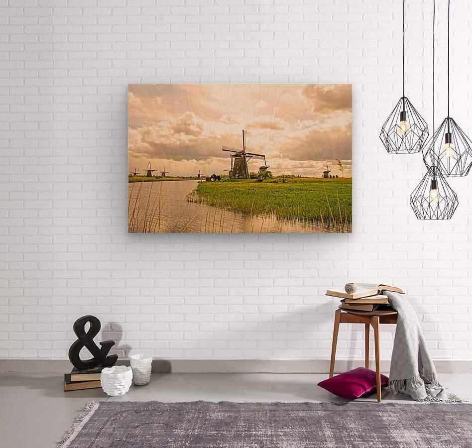 Windmills at Sunset  Wood print