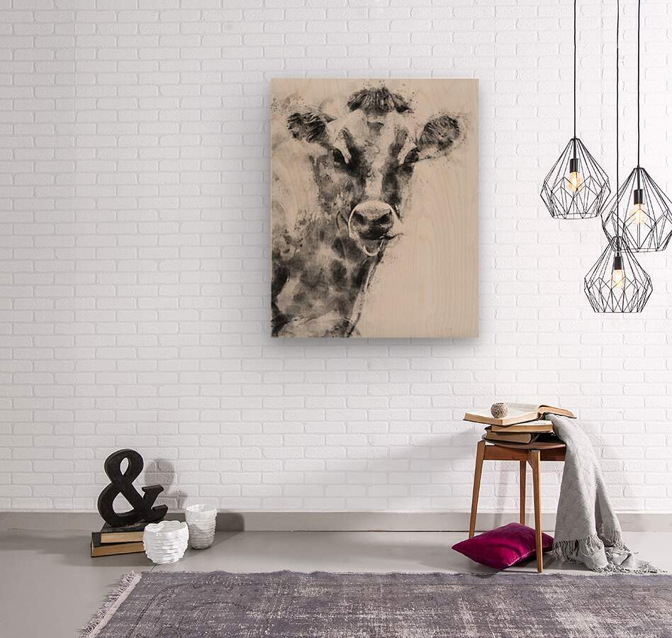 Dairy Cow Black and White  Wood print