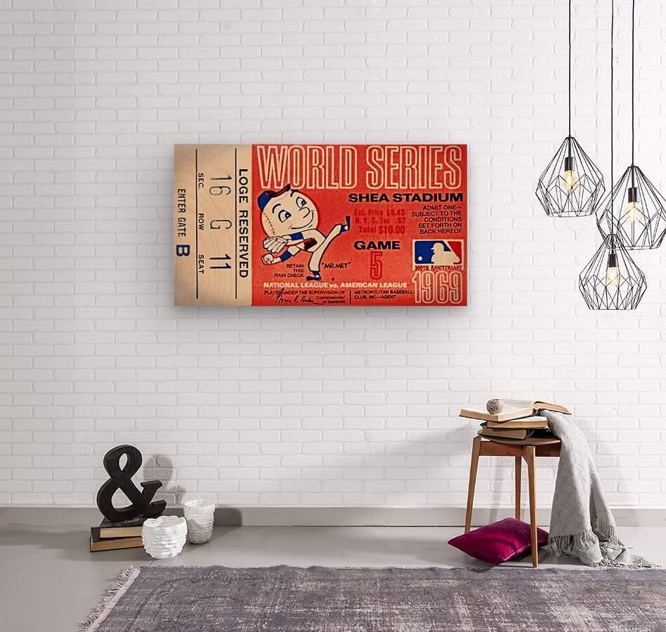 1969 New York Mets Game 5 Ticket Art  Wood print