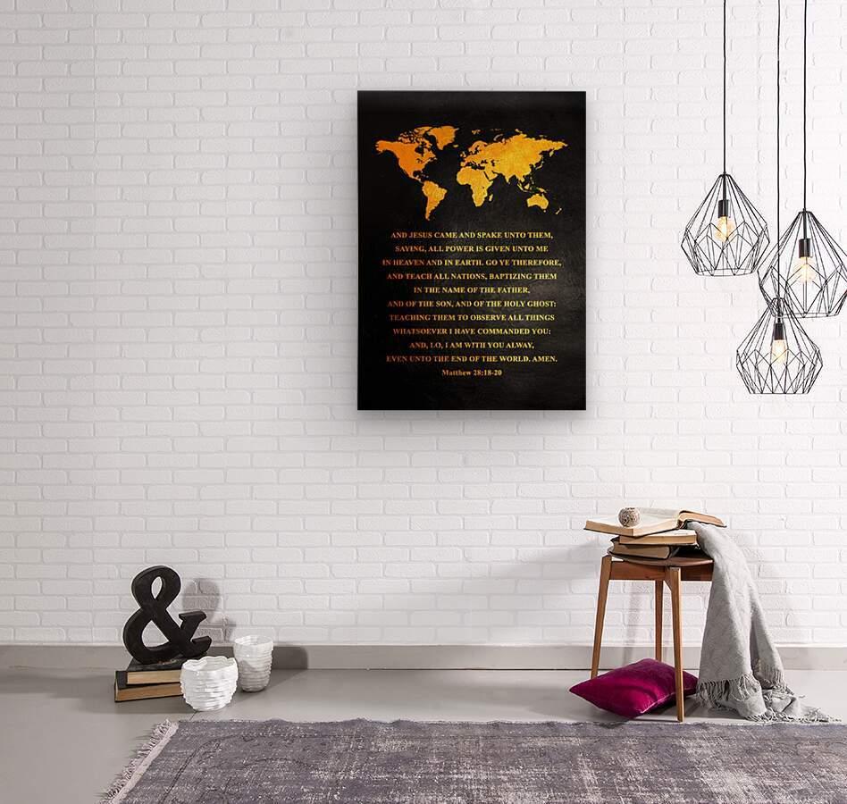 Matthew 28:18-20 Bible Verse Wall Art  Wood print