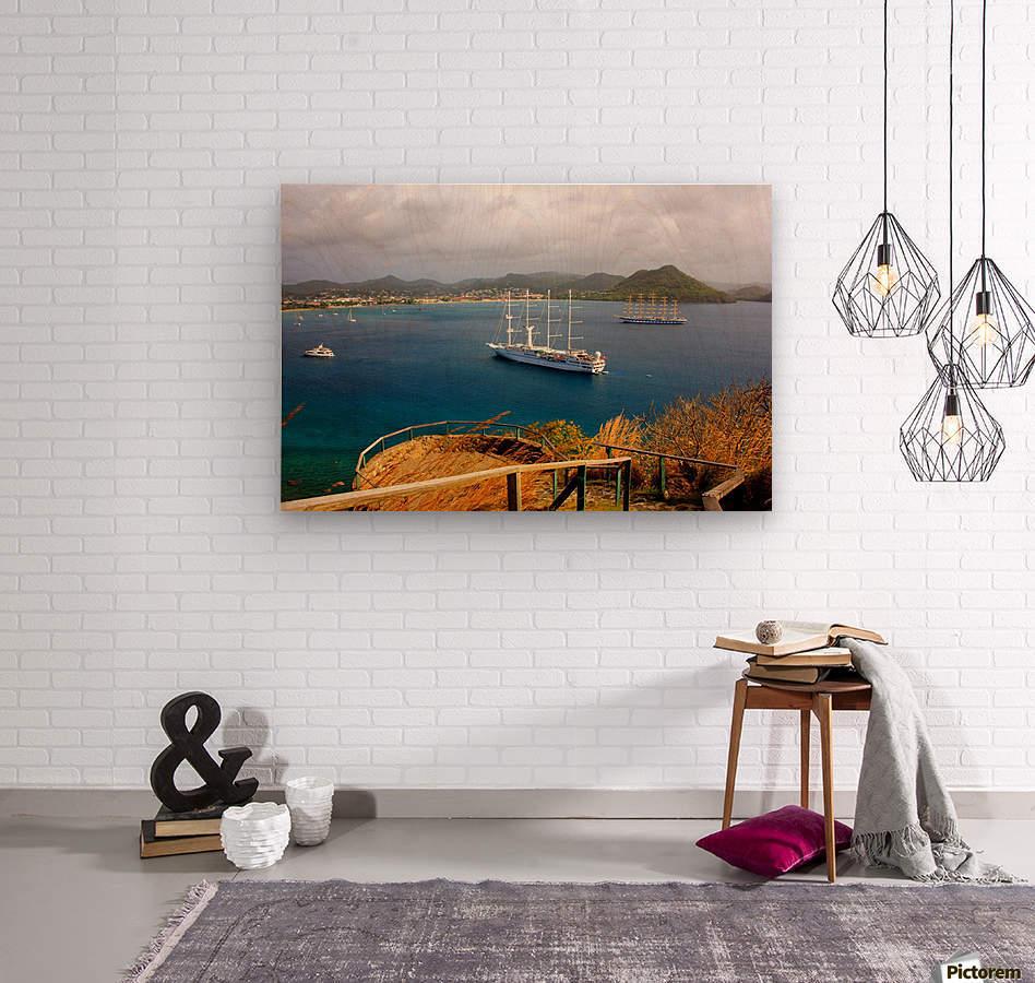 Tall ships at anchor Rodney Bay Landscape  Wood print
