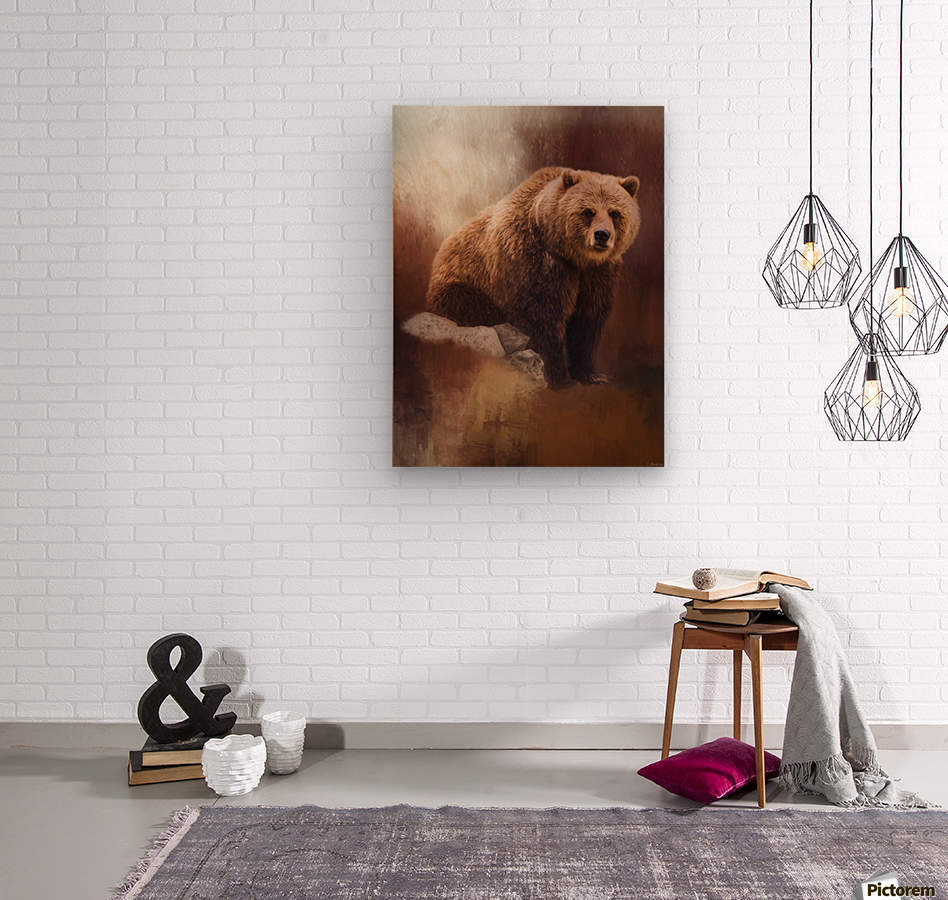 Great Strength - Grizzly Bear Art by Jordan Blackstone  Wood print