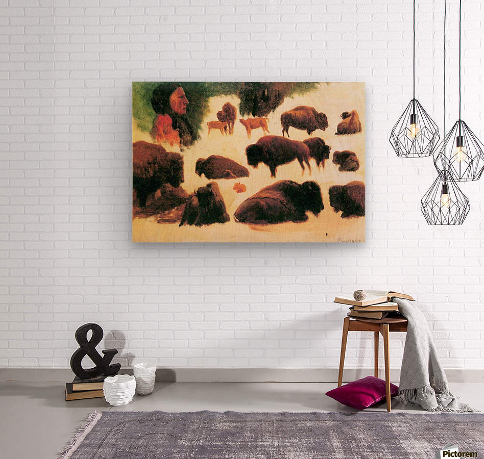 Study of Buffaloes by Bierstadt  Wood print