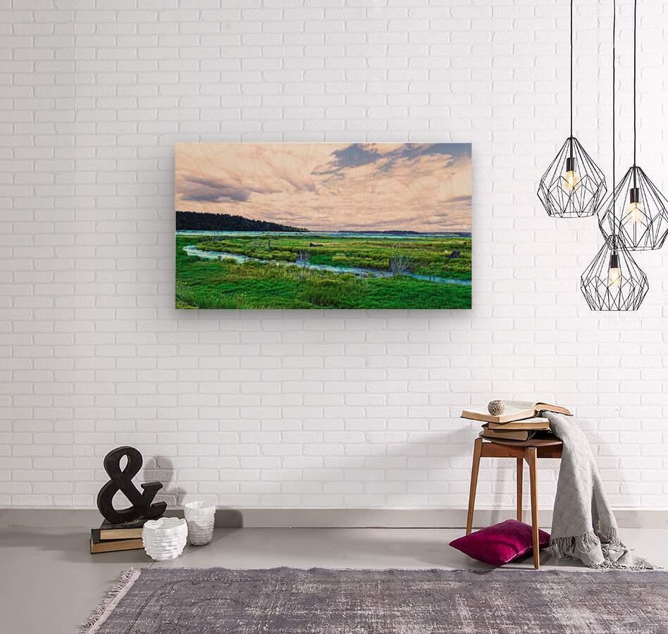 The Estuary in Fall  Wood print