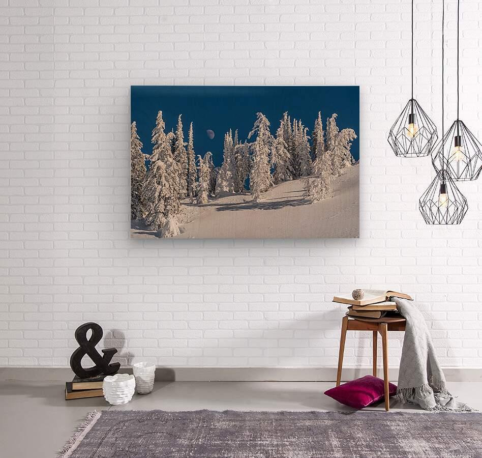 Alpine moon  Wood print