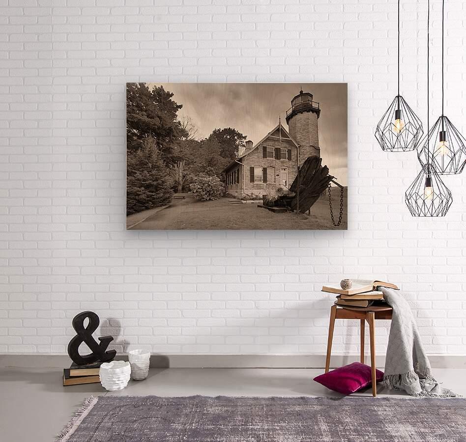 White River Light ap 2449 B&W  Wood print