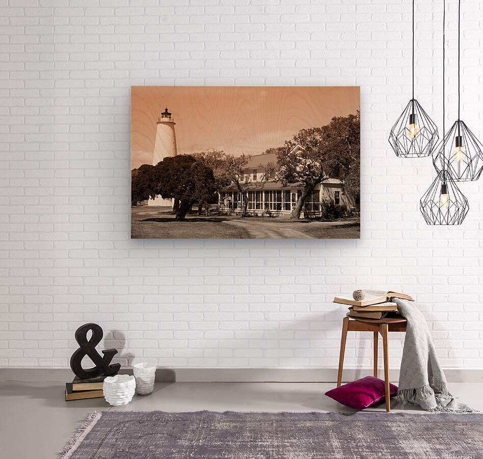 Ocracoke Light ap 1743 B&W  Wood print