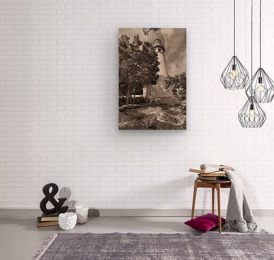 Marblehead Lighthouse ap 2400 B&W  Wood print