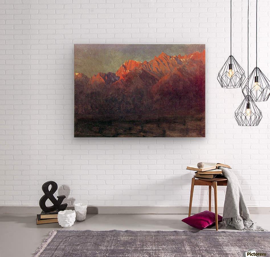 Sunrise in the Sierras by Bierstadt  Wood print