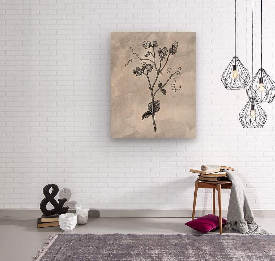 Sweet Pea Simple Gray Botanical Flower On Watercolor Marble   Wood print