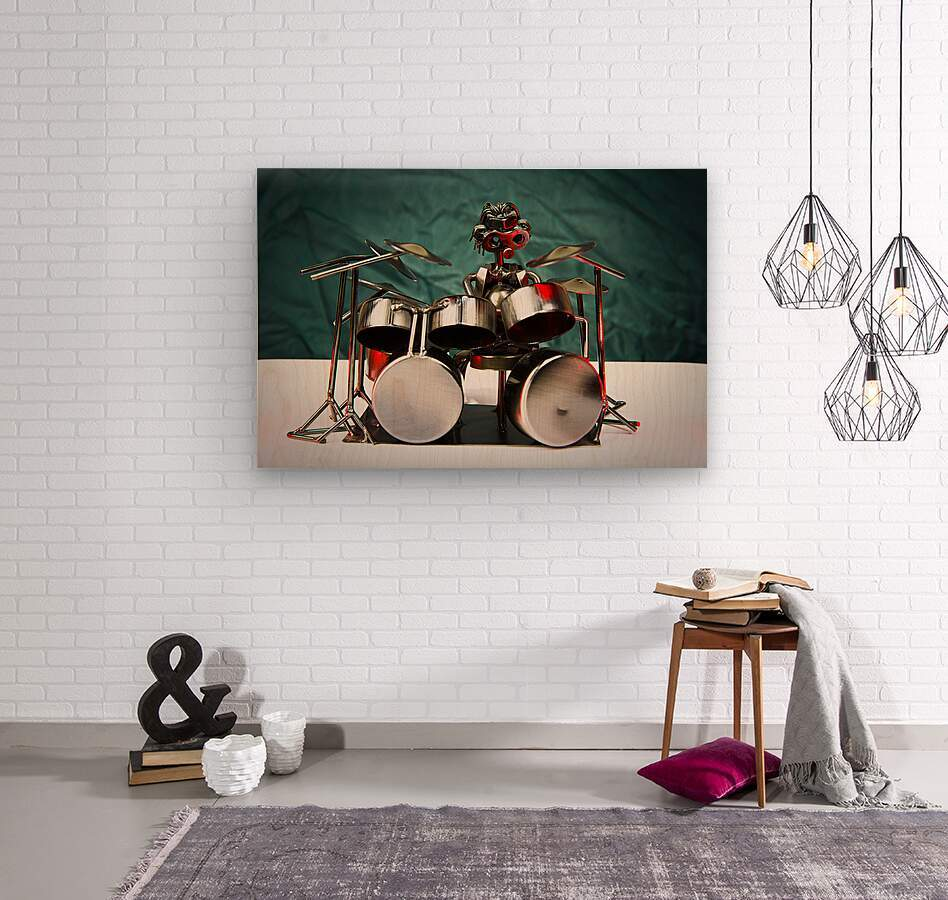 Nuthead on the Drums  Wood print