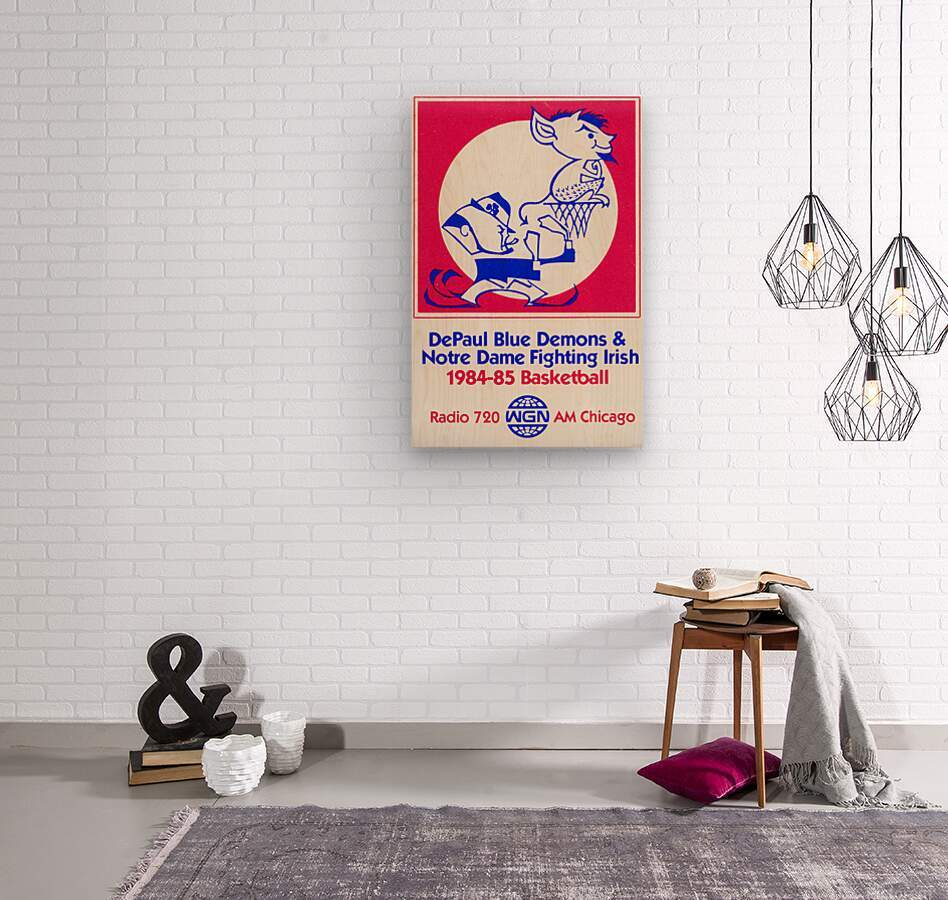 1984 DePaul Notre Dame Basketball WGN Poster  Wood print