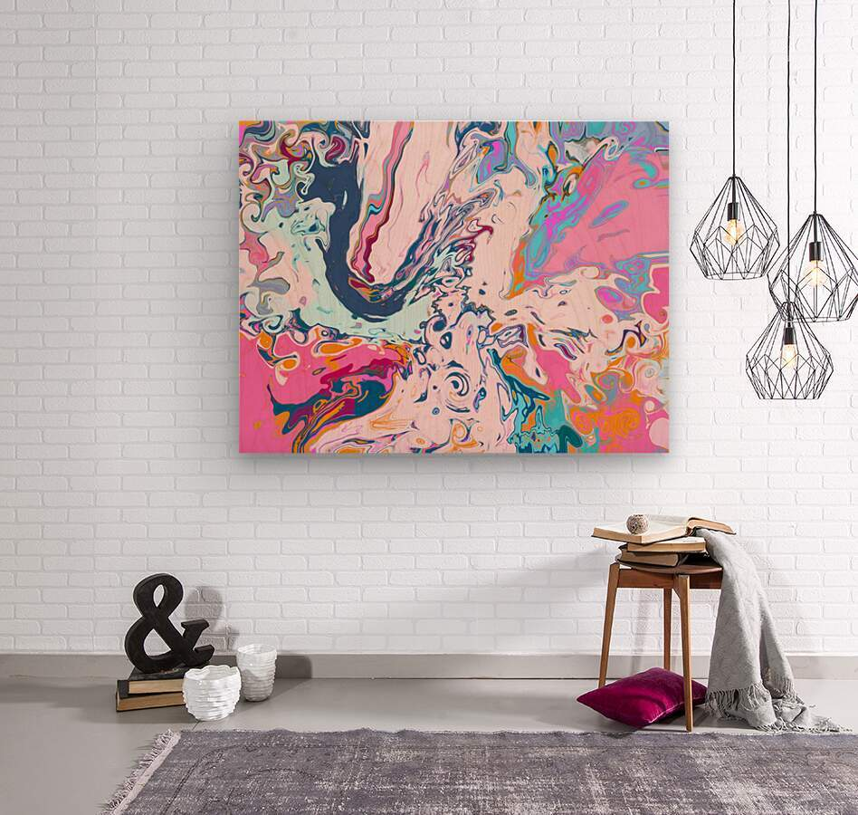Baby Blue and Pink Paint Pour  Wood print