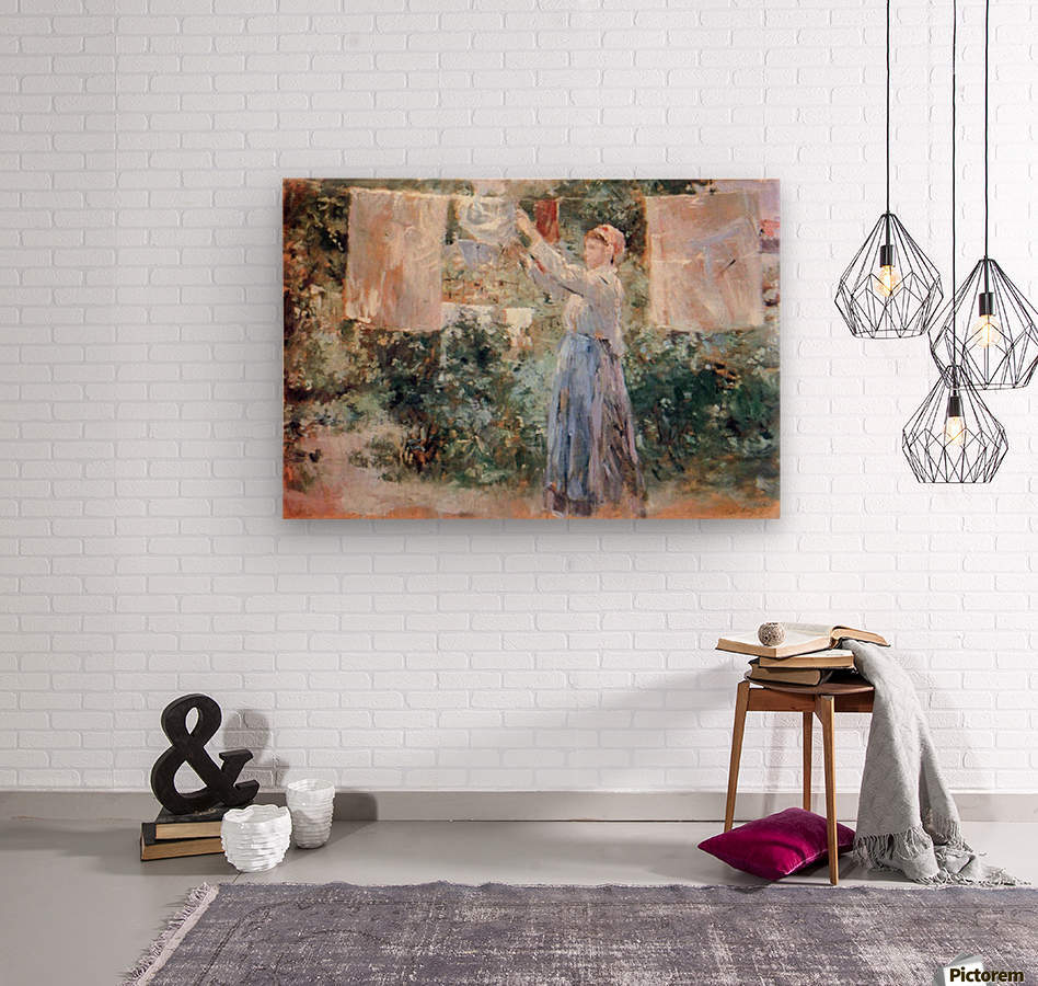 The farmer hanging laundry by Morisot  Wood print
