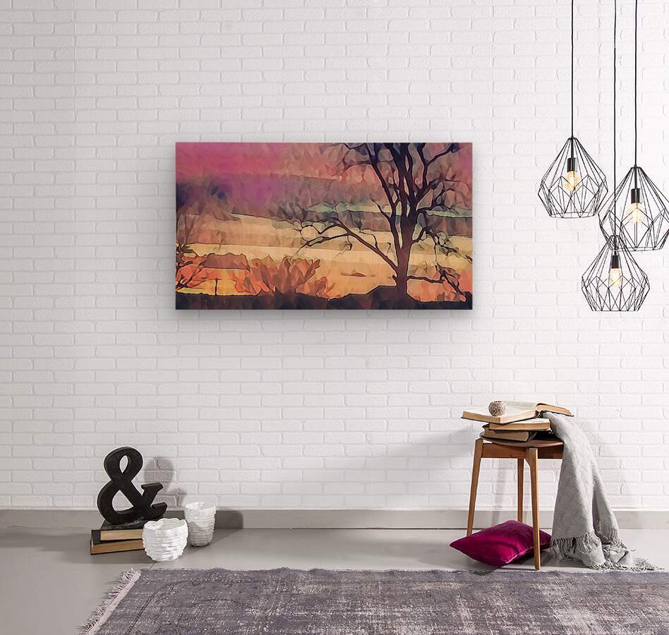 winter sky lavender  Wood print