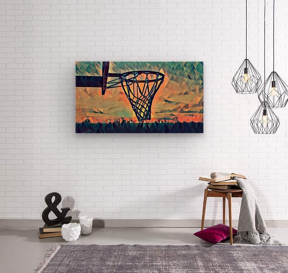 basketball hoop sunset  Wood print