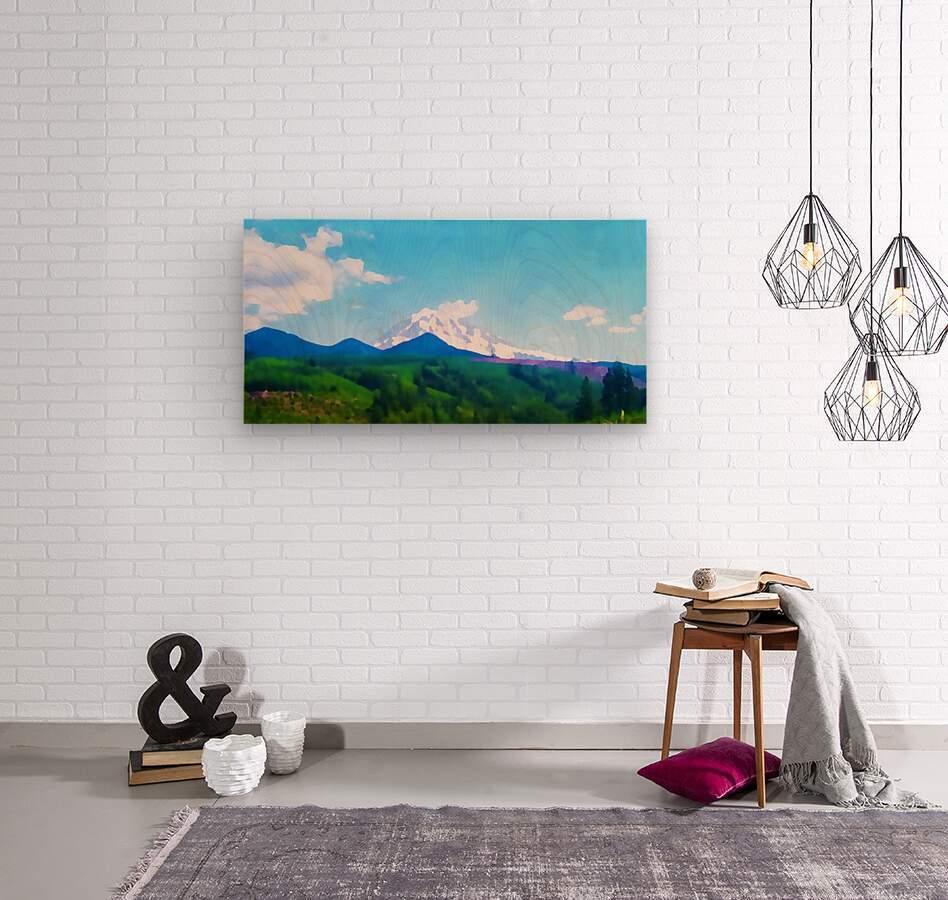 mt ranier clouds  Wood print