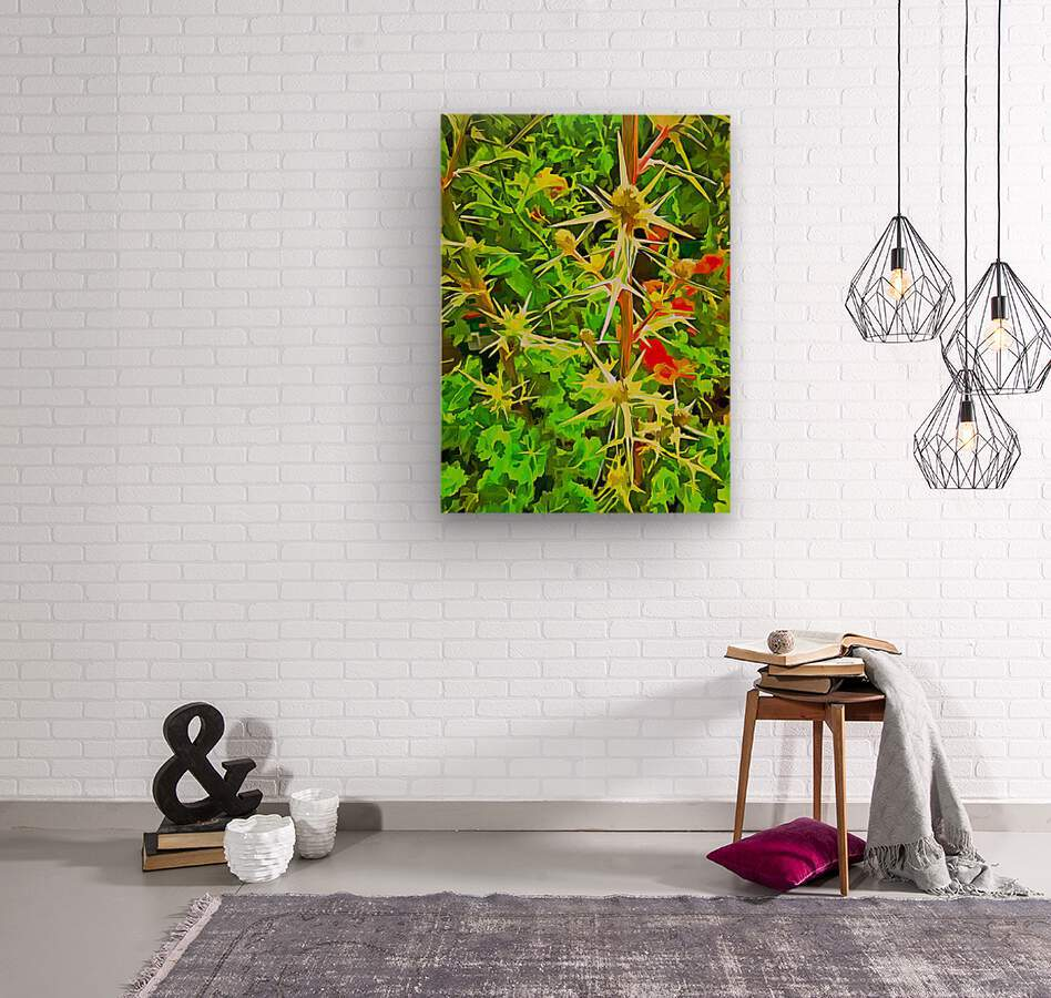 Eryngium Pop Art Style  Wood print