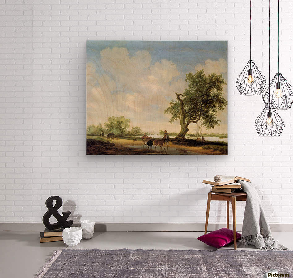 River Landscape with figures  Wood print