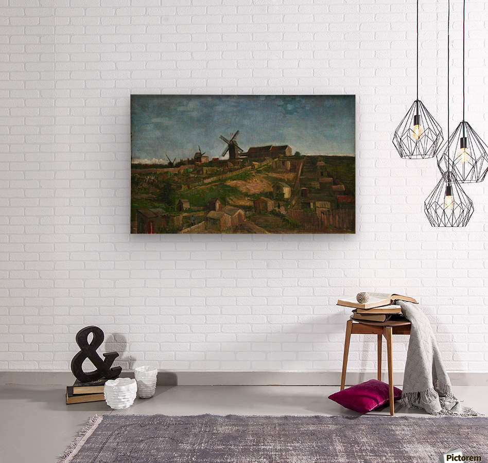The hill of Monmartre by Van Gogh  Wood print