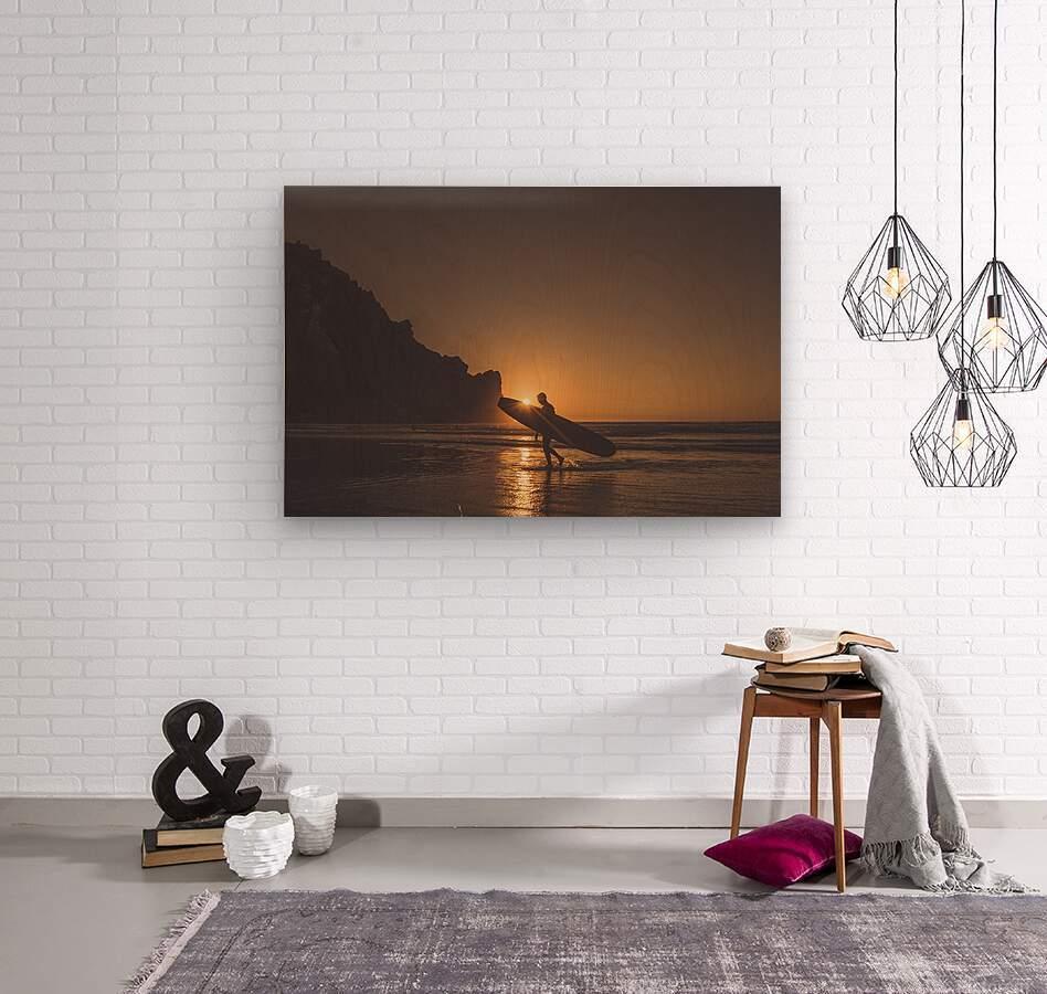 Morro Bay Surfer  Wood print