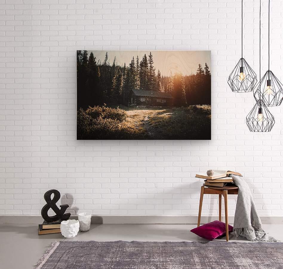 Rocky Mountain Cabin  Wood print