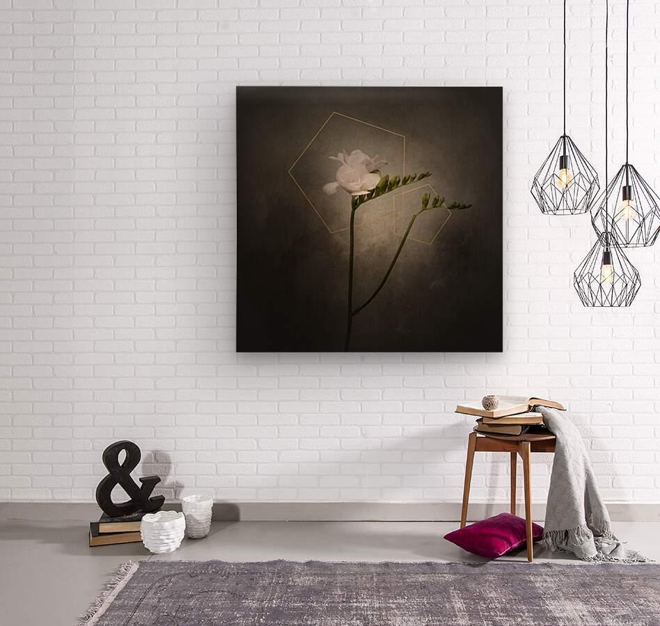 Graceful flower - Freesia   vintage style gold   Wood print