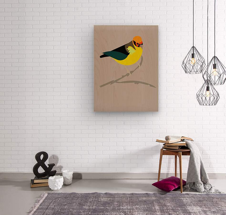 Black Eared Tanager  Wood print