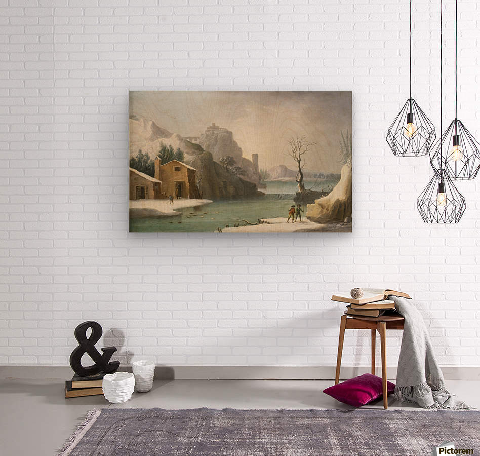 A winter landscape with travellers along a river, a Hilltop Town beyond  Wood print