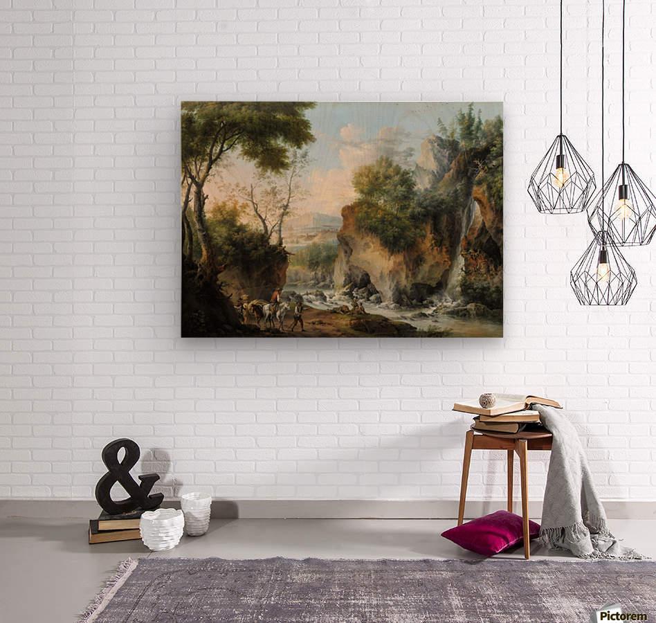 Landscape with figures along a river  Wood print