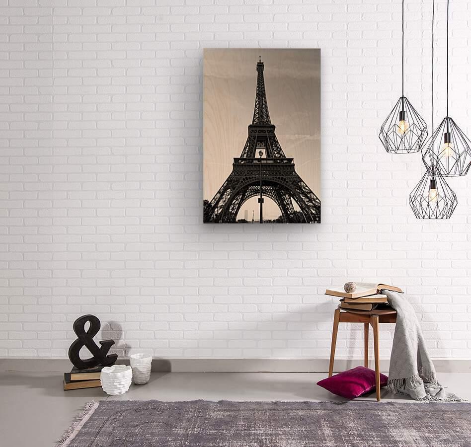 Eiffel tower in black   Impression sur bois