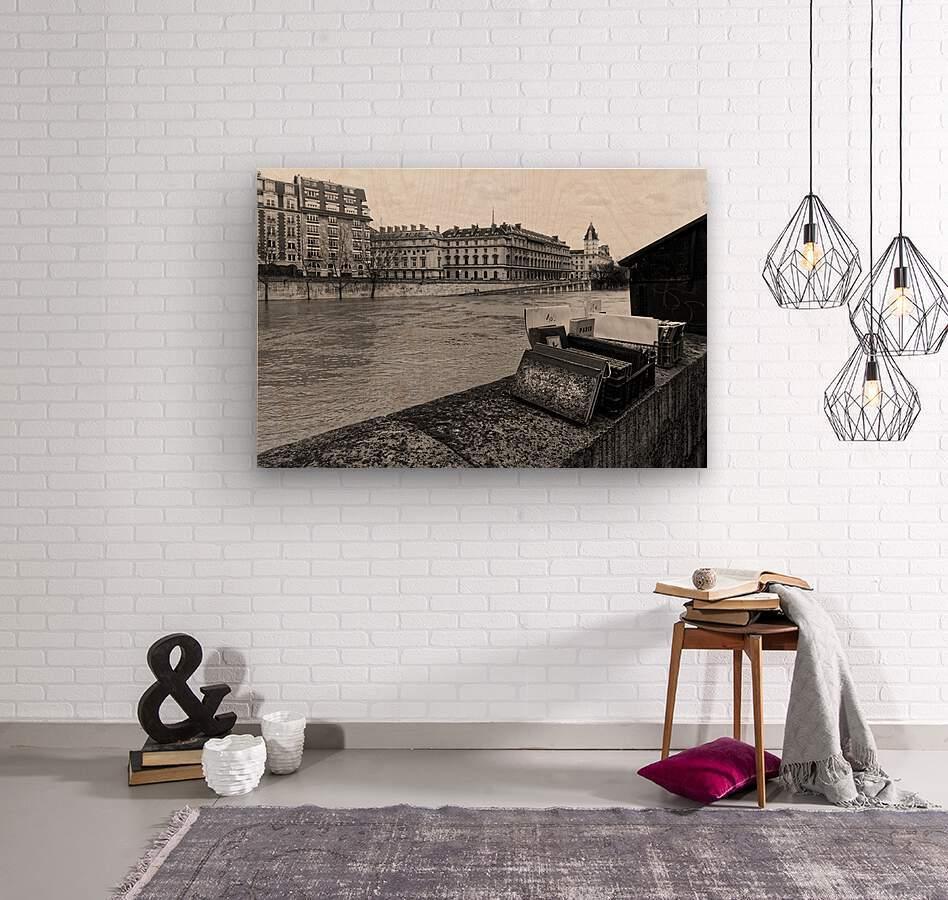 Paris quay  Impression sur bois