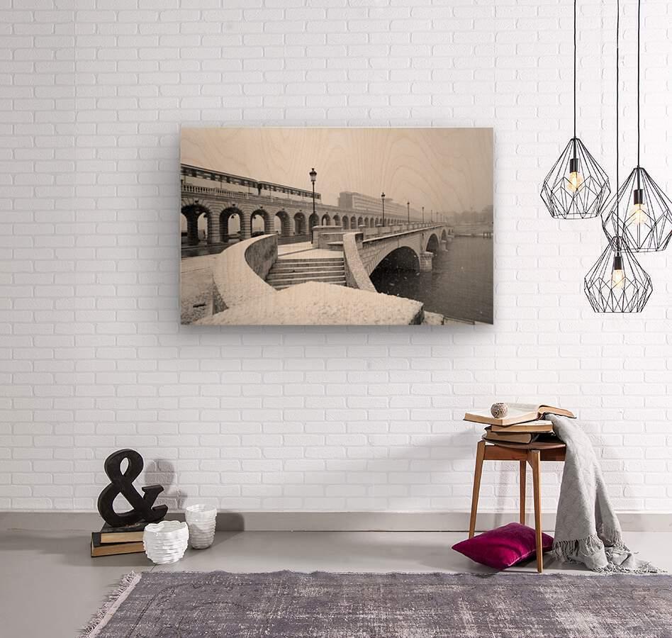 Paris under snow  Impression sur bois