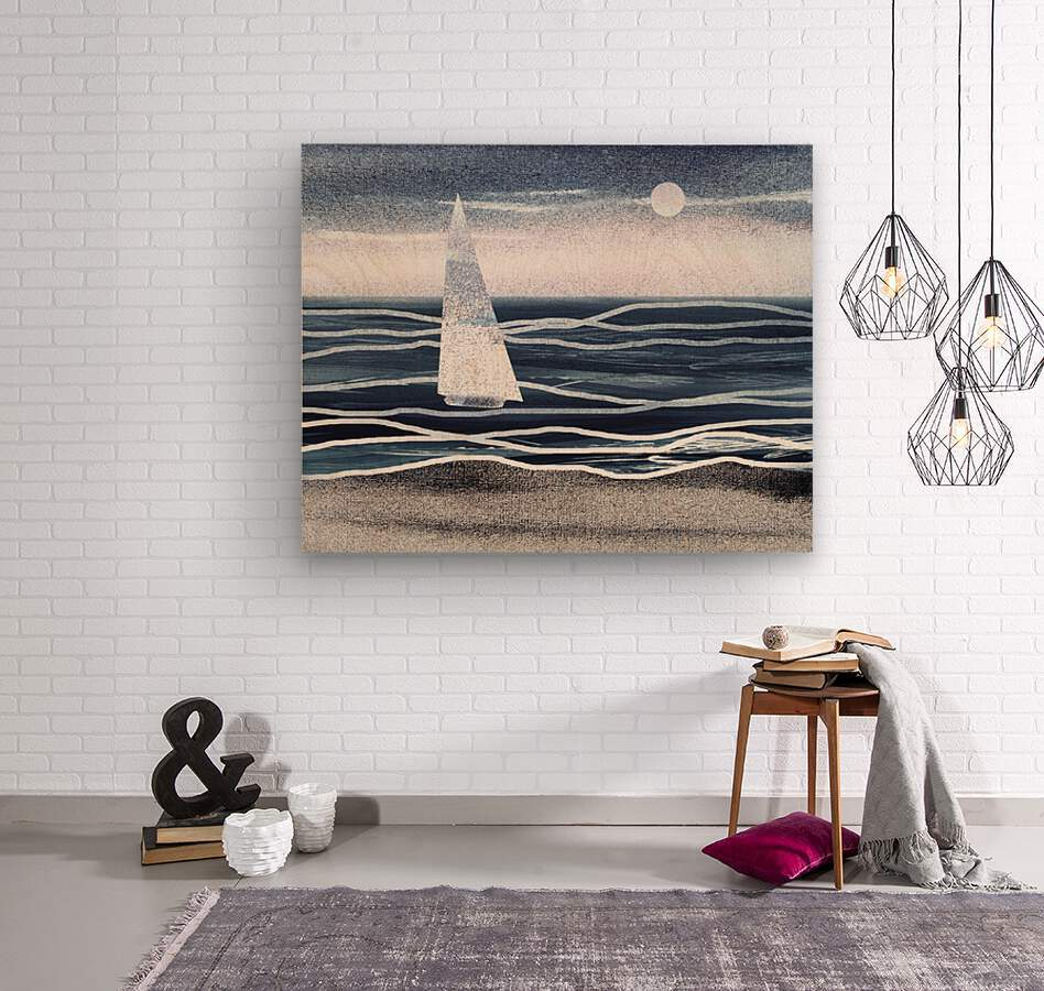 Beach House Art Sailboat At The Ocean Shore Seascape Painting XIII  Wood print
