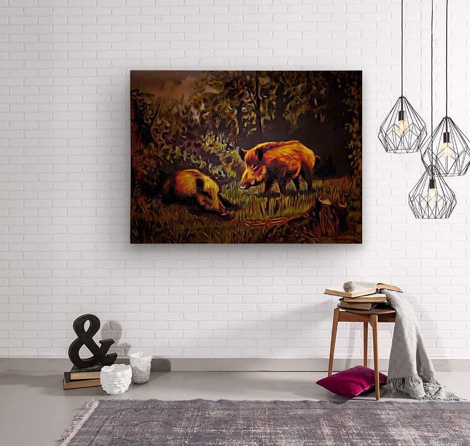 Wild Boars  Wood print
