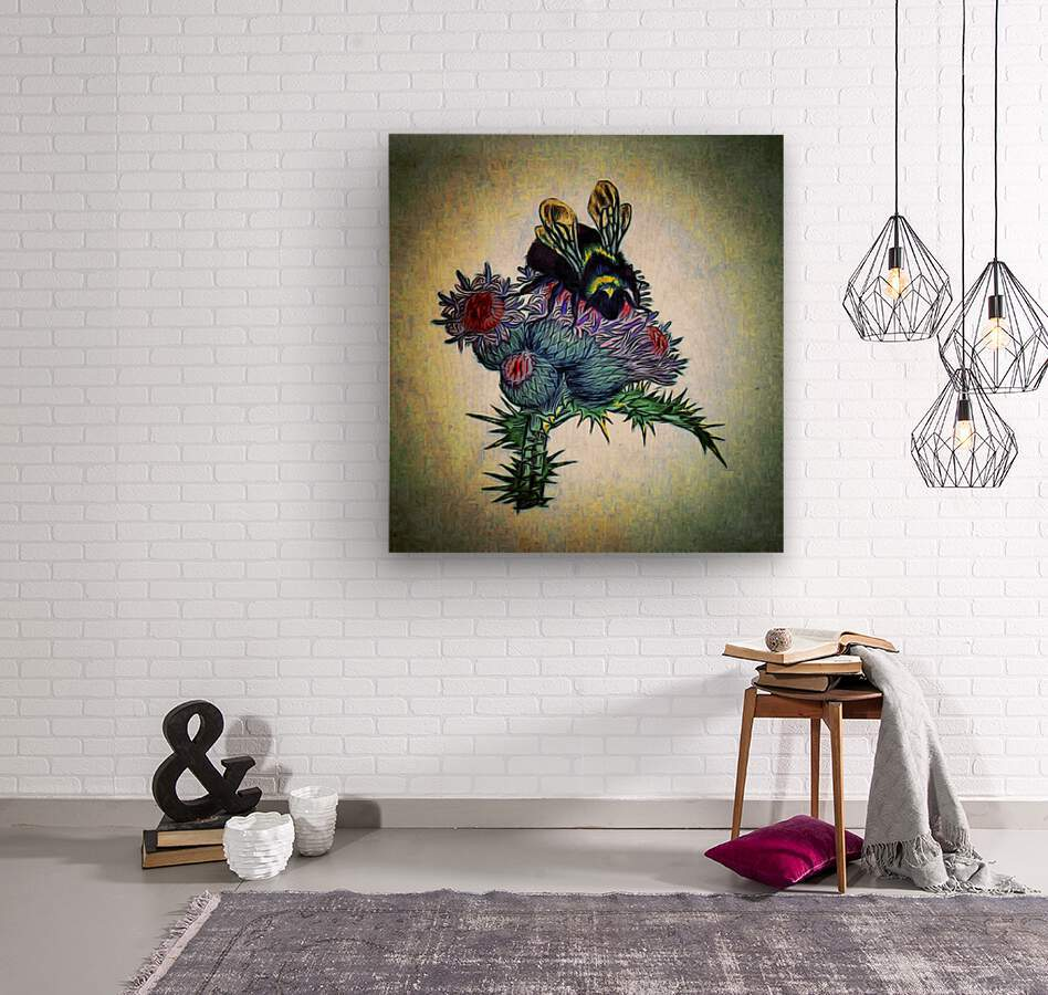 Bumble Bee On Thistle  Wood print