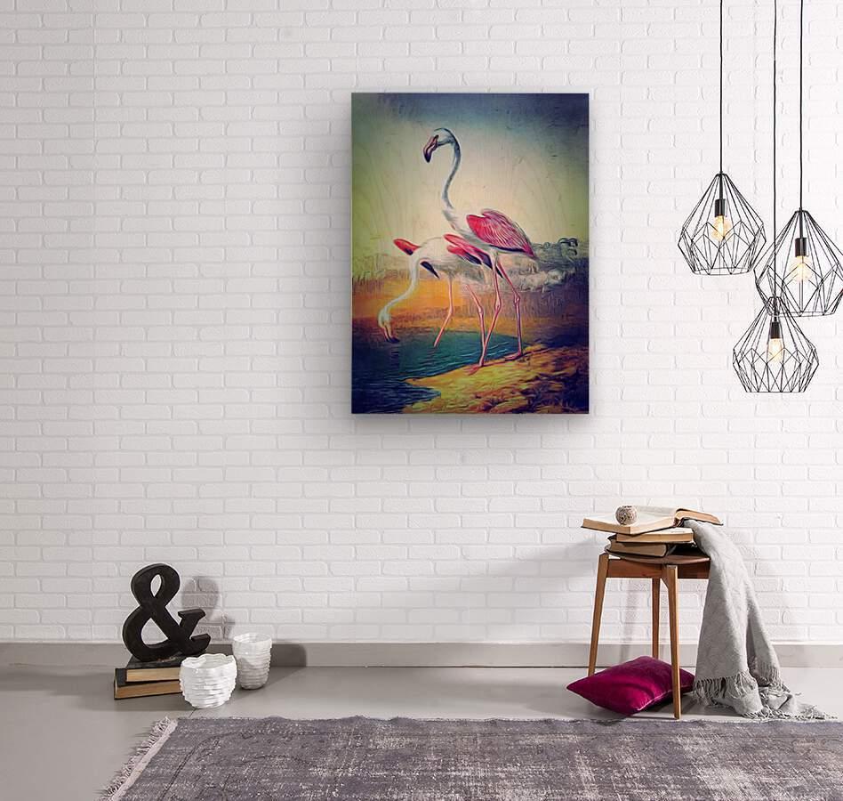 Regiment of Flamingoes  Wood print