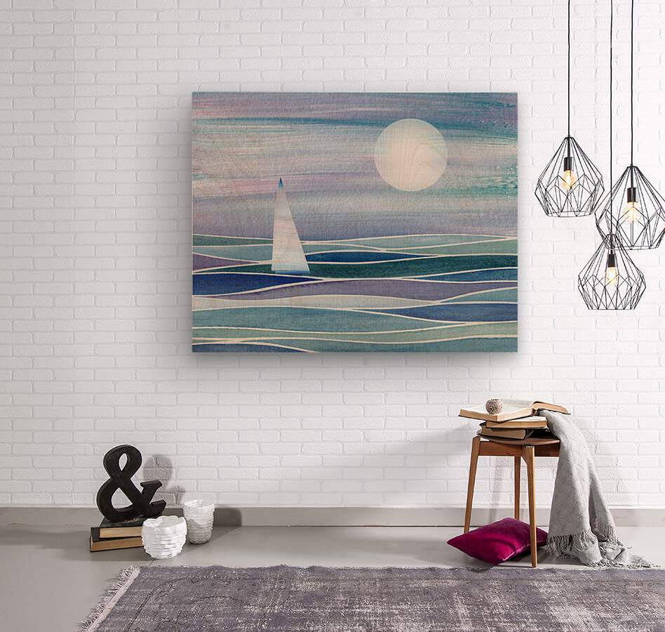 Sailboat At The Ocean Shore Seascape Painting Beach House Art Decor XV  Wood print