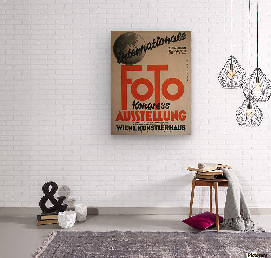 1930 Art Deco Vienna Austria Photography Exhibit Vintage Poster  Wood print