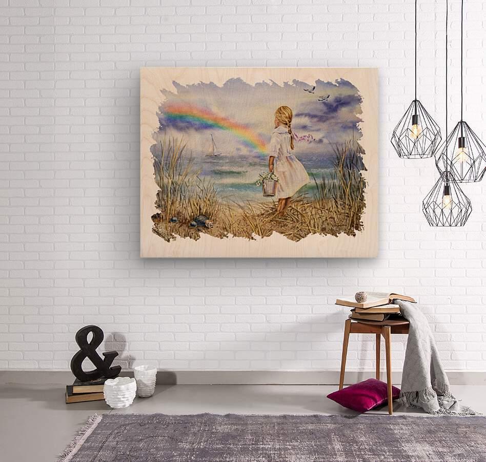 Girl Ocean Rainbow Boat And Birds Beach House Style Art  Wood print