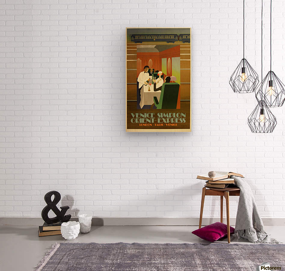 Travel Art Deco Style Poster - Venice Simplon Orient Express Railway  Wood print