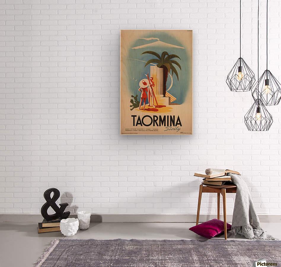 Taormina, Sicily Vintage Italian Travel Print  Wood print