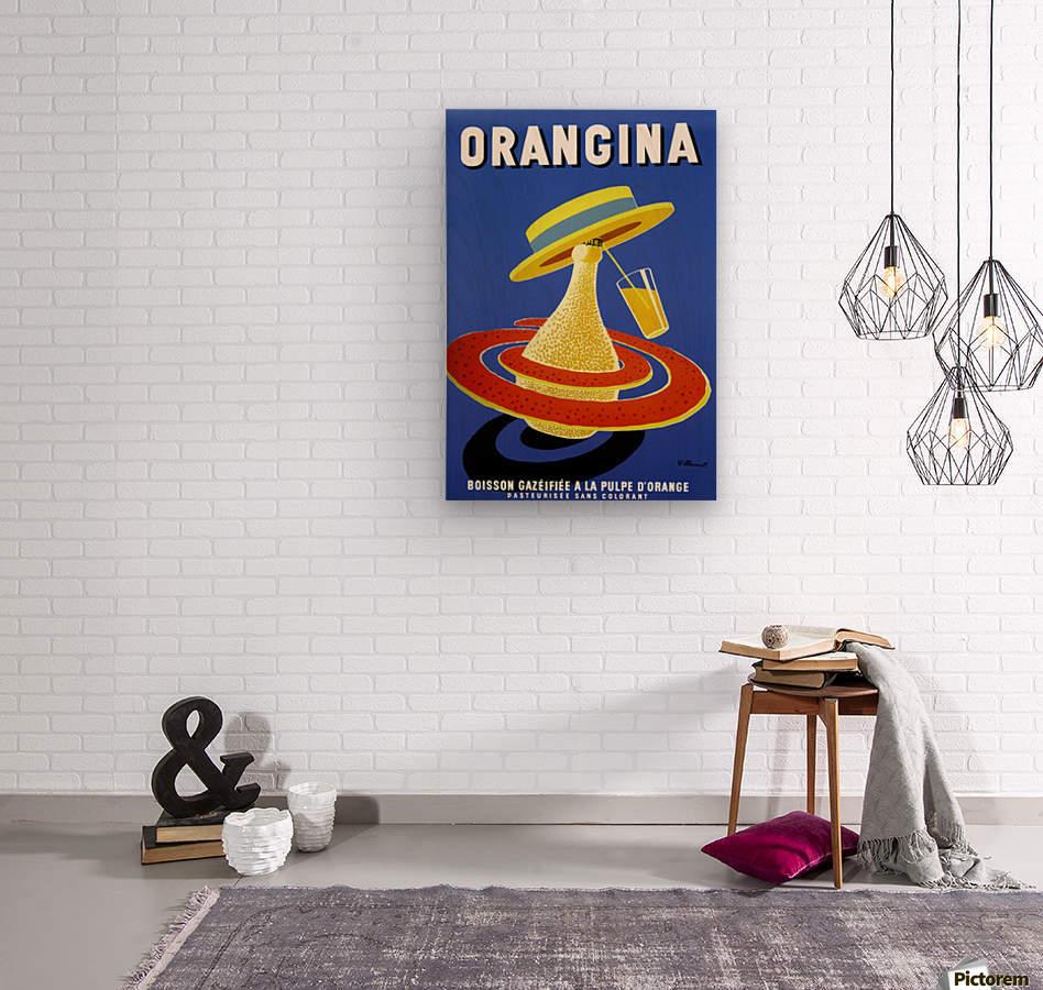 Orangina Vintage Poster  Wood print