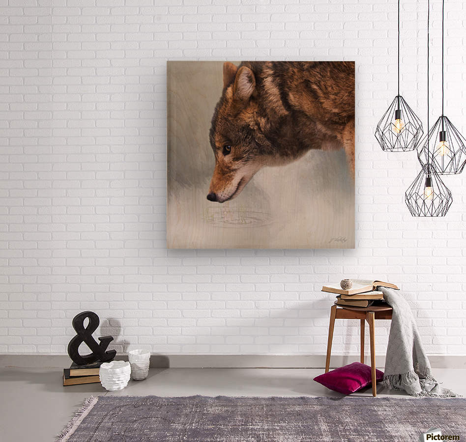 Time To Breathe - Wolf Art by Jordan Blackstone  Wood print