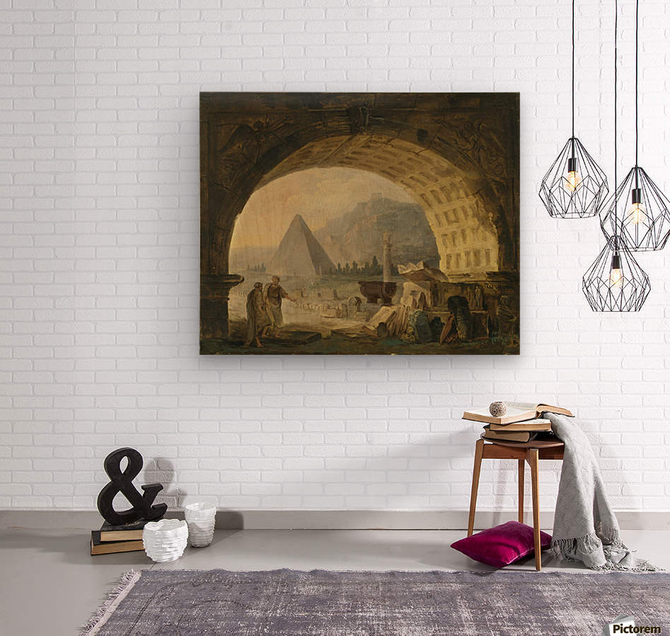 View of antiquities under an arch  Wood print