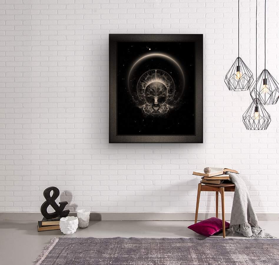 Gothic Skull Blaze Abstract Digital Art Composition  Wood print