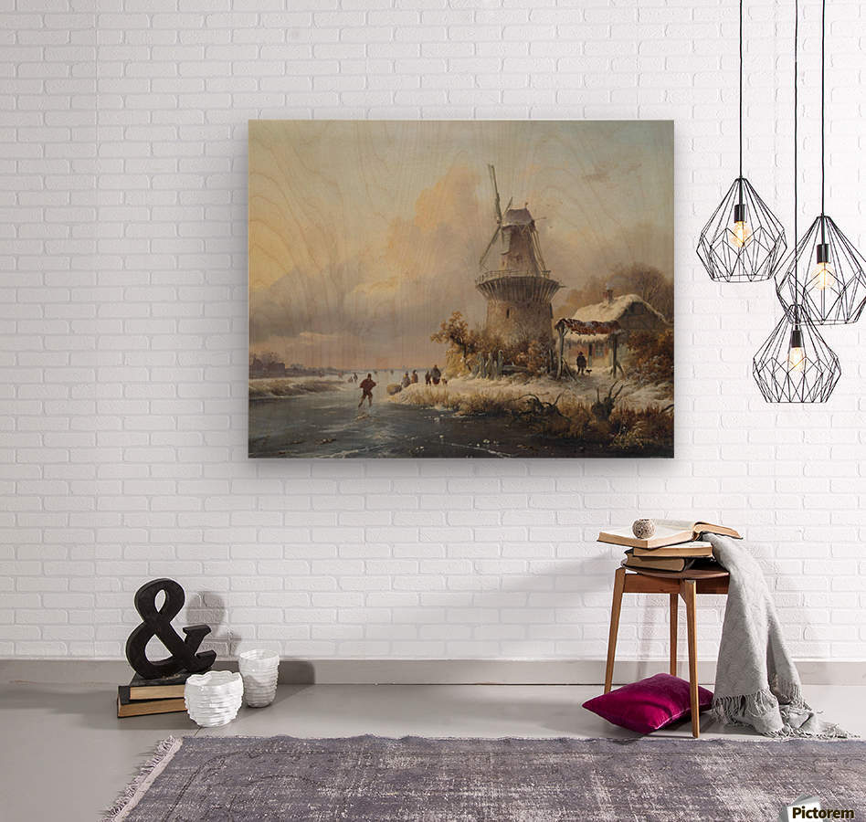 Skaters by a windmill  Wood print