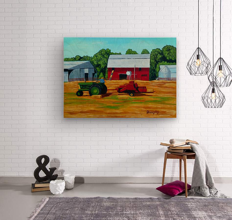 Bailing Hay  Wood print